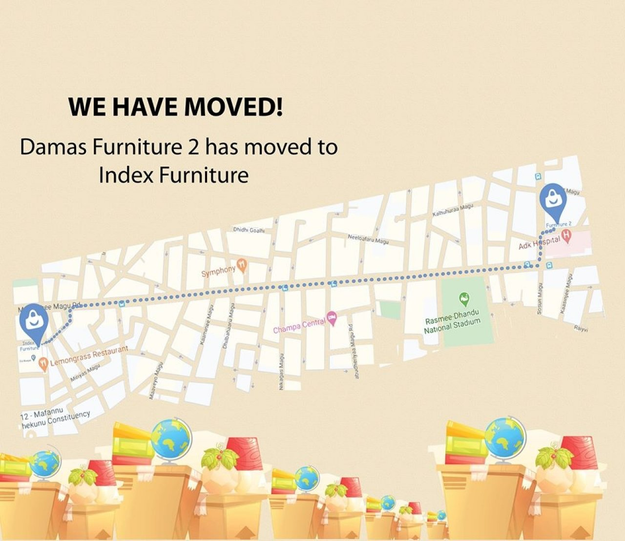 DAMAS FURNITURE 2 RELOCATES TO INDEX FURNITURE BY DAMAS